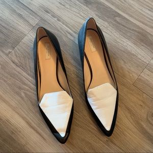 Cole Haan Black and White Pointed Skimmer Flat